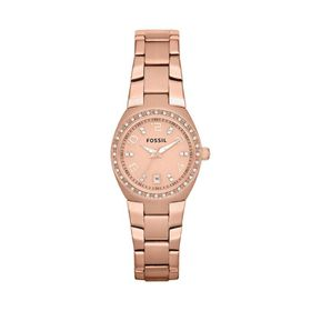 Fossil Ladies Serena Rose Gold Stainless Steel Strap Watch - AM4508