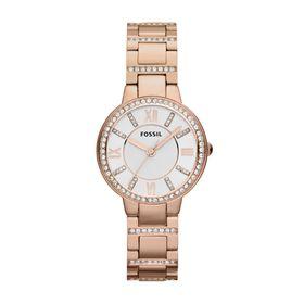 Fossil Ladies Virginia Rose Gold Stainless Steel Strap Watch - ES3284
