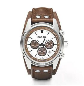 Fossil Men's Coachman Brown Leather Strap Watch - CH2565