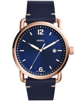Fossil Men's Commuter Blue Leather Strap Watch - FS5274