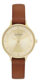 Skagen Ladies Anita Gold Leather Strap Watch - SKW2147