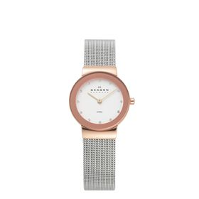 Skagen Ladies Klassik Rose Gold Stainless Steel Strap Watch - 358SRSC