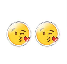 Winking & Kissing with Heart Face Stud Earrings