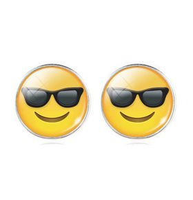 Smiling with Cool Sunglasses Stud Earrings