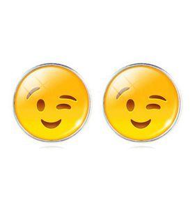 Smiling & Winking Face Stud Earrings