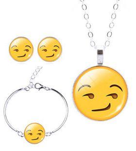Smirking Face Charm Bracelet, Earring & Pendant Set