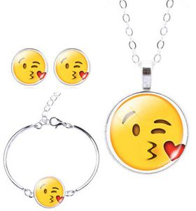 Kissing Heart Charm Bracelet, Earring & Pendant Set