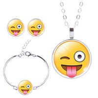 Winking Tongue Sticking-Out Charm Bracelet, Earring & Pendant Set