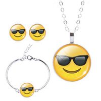 Smiling Sunglasses Charm Bracelet, Earring & Pendant Set