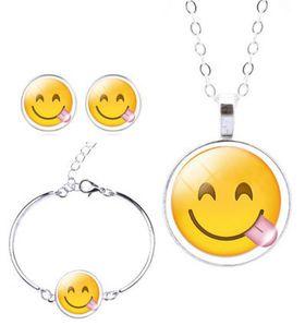 Smiling Tongue Sticking-Out Charm Bracelet, Earring & Pendant Set