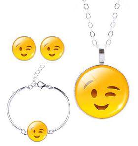 Smiling & Winking Charm Bracelet, Earring & Pendant Set