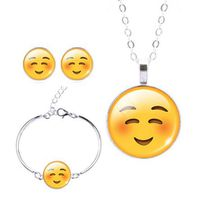 Smiling with Eyes Closed Charm Bracelet, Earring & Pendant Set