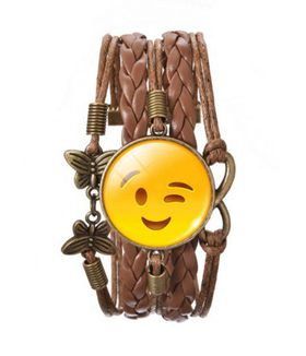 Leatherette Bracelet with Smiling Wink Face, Butterflies & Infinity Charm