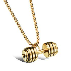 Stainless Steel Dumbbell Pendant Necklace