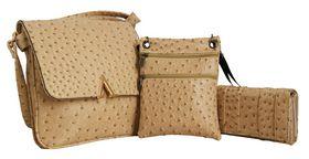 Fino Ladies 3 In 1 Ostrich PU Leather Purse Set