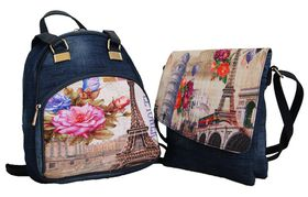 Fino Ladies Vintage Denim Backpack Set (Sk-1601-A4+Sk-1616-B3)