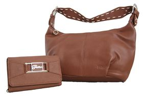 Fino Ladies Brown PU Leather Shoulder Bag Set