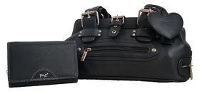 Fino Ladies Black PU Leather Shoulder Bag Set (A2412+993-093)