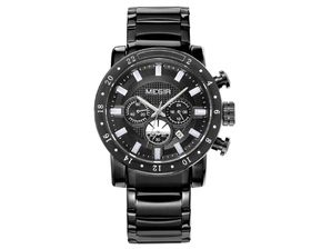 Megir Men's Stainless Steel Luxury Full Chronograph Watch - Black