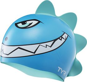 Junior TYR Dino Destroyer Silicone Swimming Cap - Blue/Green