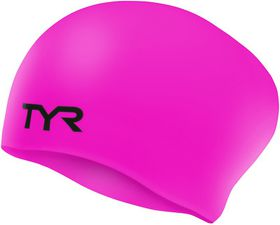 TYR Wrinkle Free Silicone Long Hair Swimming Cap - Pink
