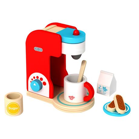 Tookytoy Kids Wooden Toy Coffee Set And Maker