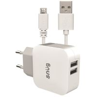 Snug 2 Port 3.4amp Charger with Micro USB Cable - White