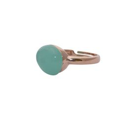 Art Jewellers sVogue Silver Rose Gold Plated & Cabuchon Cut Gemstone Ring Z4082 - Mint Green