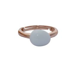 Art Jewellers sVogue Silver Rose Gold Plated & Cabuchon Cut Gemstone Ring Z4083 - Alabaster White