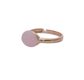 Art Jewellers sVogue Silver Rose Gold Plated & Cabuchon Cut Gemstone Ring Z4084 - Rose Quartz