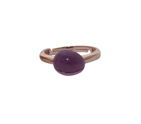 Art Jewellers sVogue Silver Rose Gold Plated & Cabuchon Cut Gemstone Ring Z4086 - Amethyst