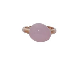 Art Jewellers sVogue Silver Rose Gold Plated & Cabuchon Cut Gemstone Ring Z4090 - Rose Quartz