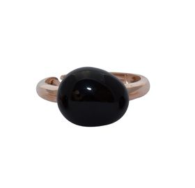Art Jewellers sVogue Silver Rose Gold Plated & Cabuchon Cut Gemstone Ring Z4091 - Black Onyx