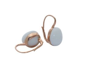Art Jewellers sVogue Silver Rose Gold Plated Earrings With Cabuchon Cut Gemstones Z4095 - Alabaster White
