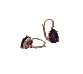 Art Jewellers sVogue Silver Rose Gold Plated Earrings With Cabuchon Cut Gemstones Z4142 - Amesthyst
