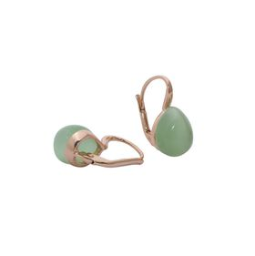 Art Jewellers sVogue Silver Rose Gold Plated Earrings With Cabuchon Cut Gemstones Z4167 - Apple Green