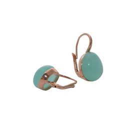 Art Jewellers sVogue Silver Rose Gold Plated Earrings With Cabuchon Cut Gemstones Z4168 - Mint Green