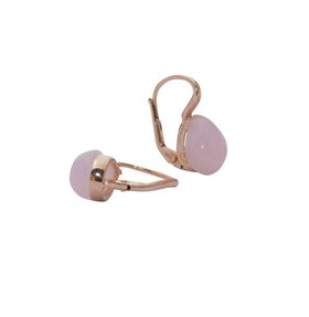 Art Jewellers sVogue Silver Rose Gold Plated Earrings With Cabuchon Cut Gemstones Z4170 - Rose Quartz
