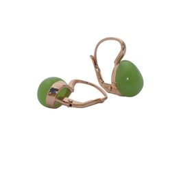 Art Jewellers sVogue Silver Rose Gold Plated Earrings With Cabuchon Cut Gemstones Z4177 - Apple Green