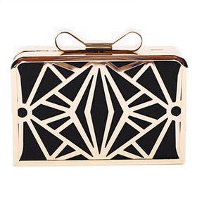Clutch Handbag - Black & Gold