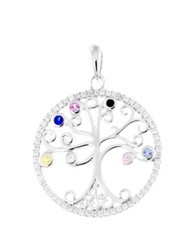 Dhia Jewellery Tree of Life Pendant with AAA Color Zircon - Silver