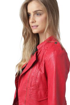 Glamzza Ladies Hot Studded Faux Leather Jacket - Red