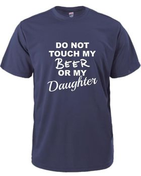 Qtees Africa Do Not Touch My Beer Or My Daughter Navy Mens T-Shirt
