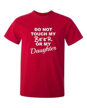 Qtees Africa Do Not Touch My Beer Or My Daughter Red Mens T-Shirt