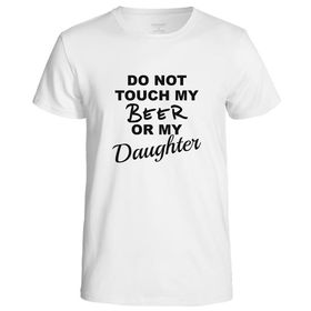 Qtees Africa Do Not Touch My Beer Or My Daughter White Mens T-Shirt