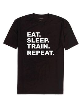 Qtees Africa Eat Sleep Train Repeat Black Mens T-Shirt
