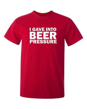 Qtees Africa I Gave Into Beer Pressure Red Mens T-Shirt