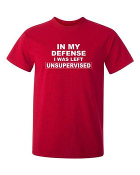 Qtees Africa In My Defense I Was Left Unsupervised Red Mens T-Shirt