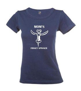 Qtees Africa Moms Fidget Spinner Navy Round Neck Ladies T-Shirt