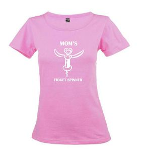 Qtees Africa Moms Fidget Spinner Pink Round Neck Ladies T-Shirt